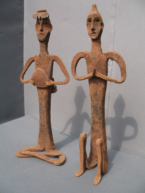 Two Iron Shaman Statues, View A